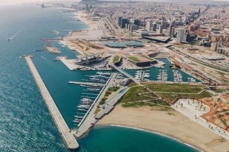Helicopter flight along the coast of Barcelona